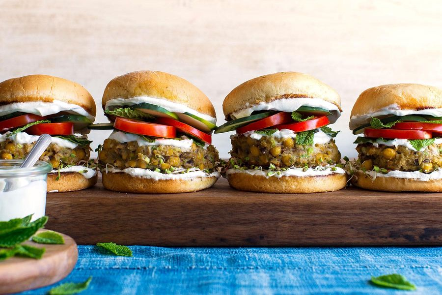 Falafel burgers with cucumber, tomatoes, and mint