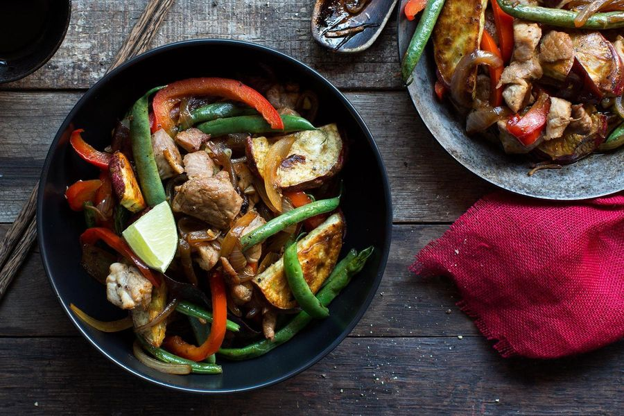 Pork stir-fry with green beans and Japanese sweet potato