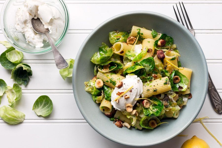 Zesty rigatoni with Brussels sprouts, hazelnuts, and lemon