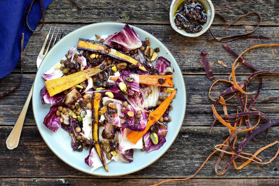 Roasted carrot, lentil and radicchio salad with fig balsamic vinaigrette