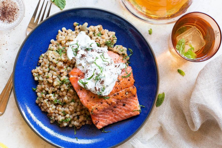 Wild salmon with mint tzatziki and pearl couscous
