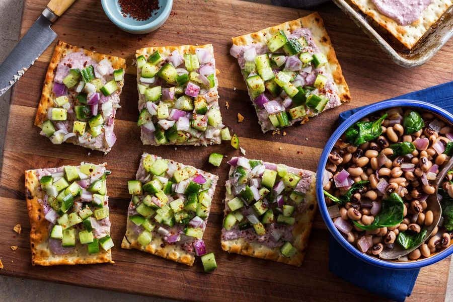 Creamy feta and cucumber flatbreads with Cypriot black-eyed peas
