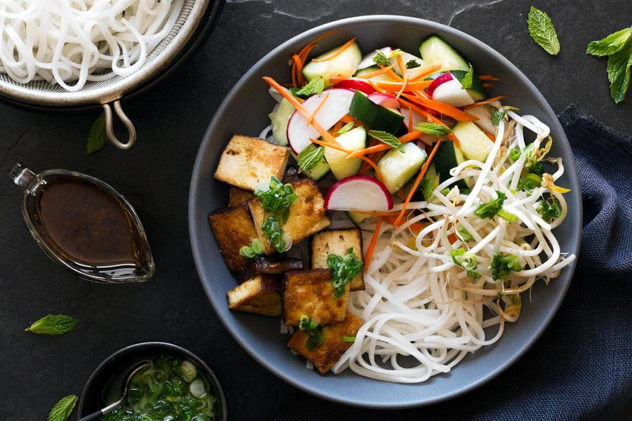Saigon noodles with braised tofu and cucumber-radish salad