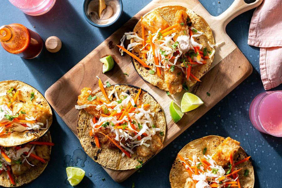 SoCal fish tacos with zesty lime yogurt and carrot-cabbage slaw
