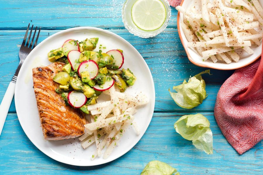 Salmon with tomatillo-avocado salsa and jicama