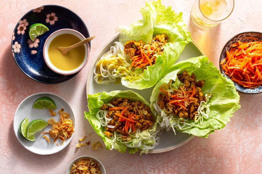 Lemongrass turkey and rice noodle lettuce cups with coconut curry