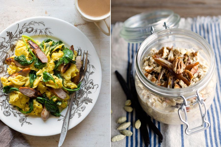 Two Breakfasts: Sausage-kale scramble & Overnight oats with dates, pecans, and cardamom