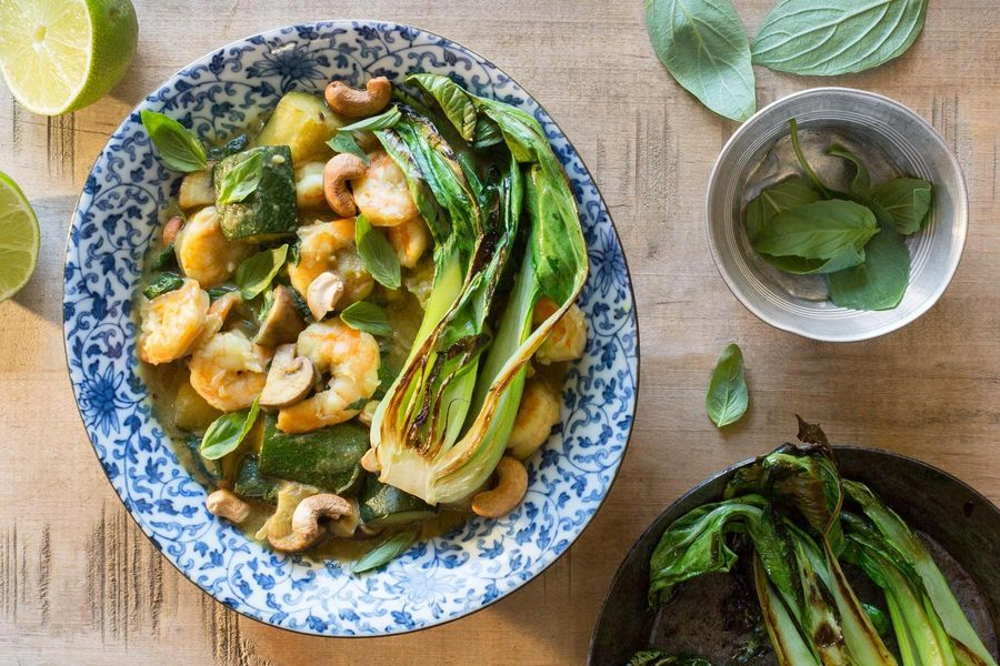 Green curry shrimp with pan-seared bok choy