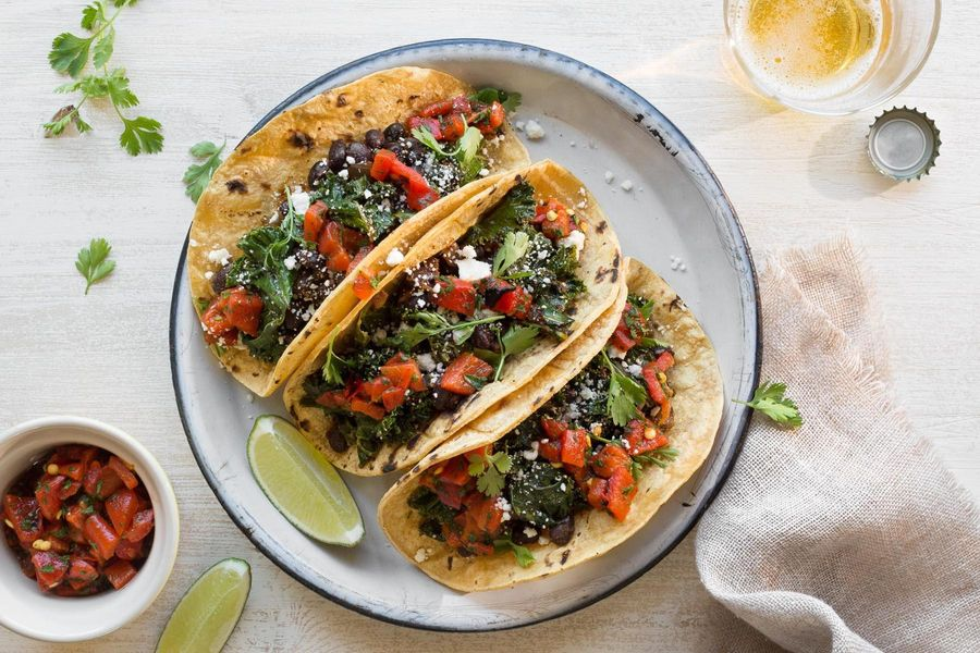 Kale and black bean tacos with roasted-red-pepper salsa