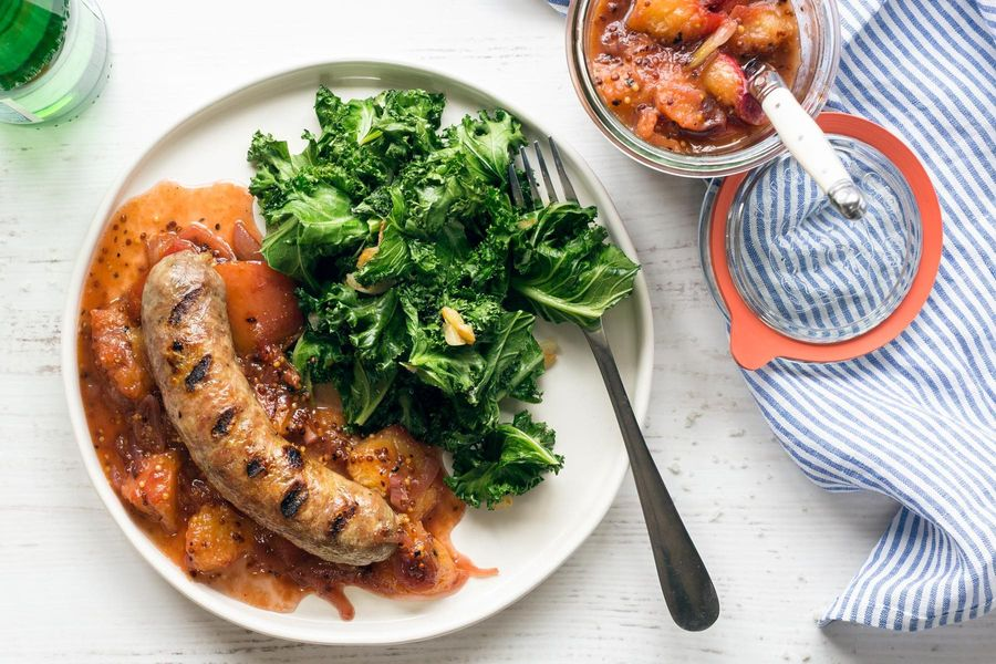 Italian sausages with stone fruit mostarda and sautéed greens