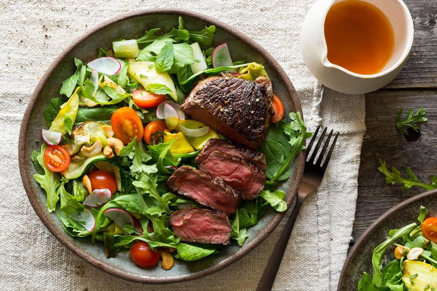 Thai steak salad with seared summer squash