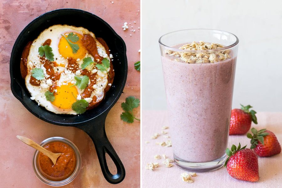Fried eggs with New Mexican chile salsa & Strawberry-chia smoothies with granola topping