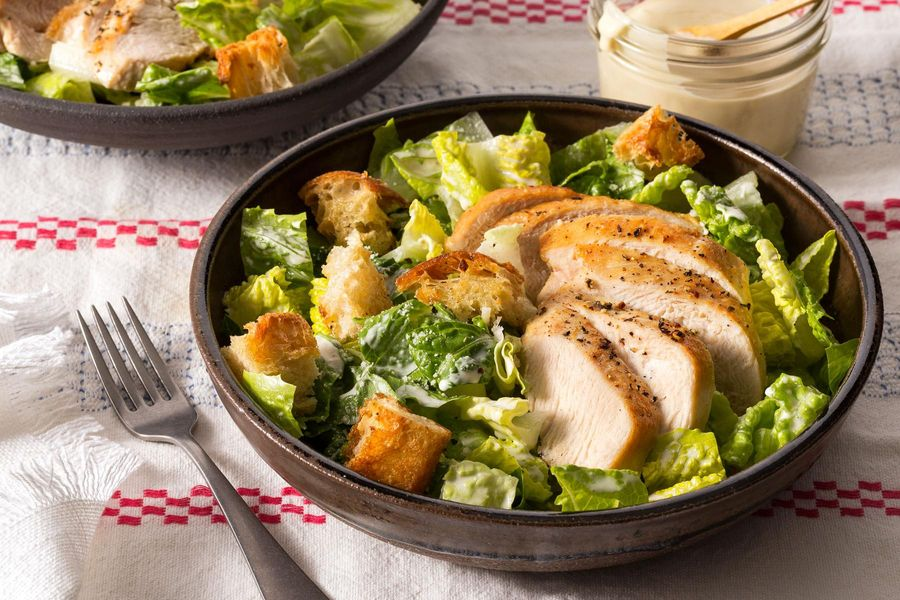 Simple chicken Caesar with ciabatta croutons