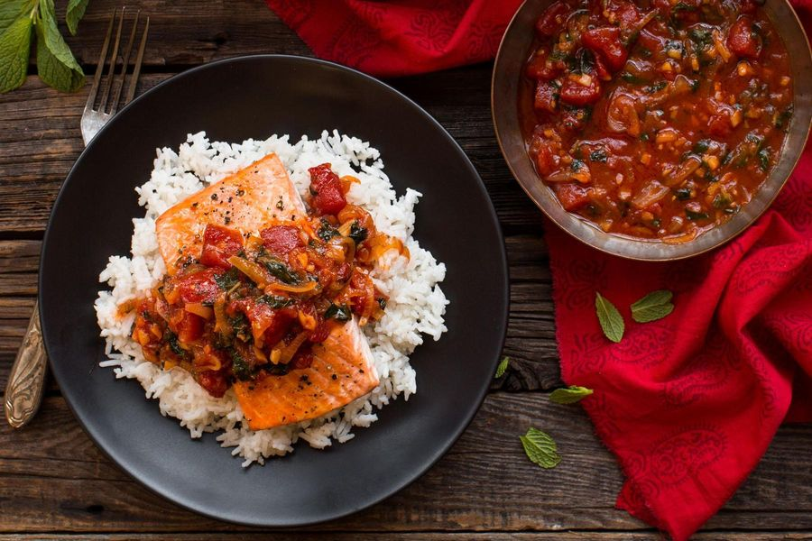 Salmon with tomato-ginger chutney and cardamom rice