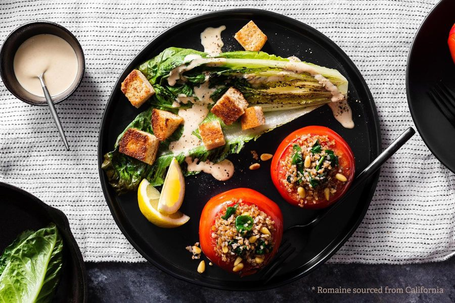 Vegan Caesar salad with stuffed tomatoes