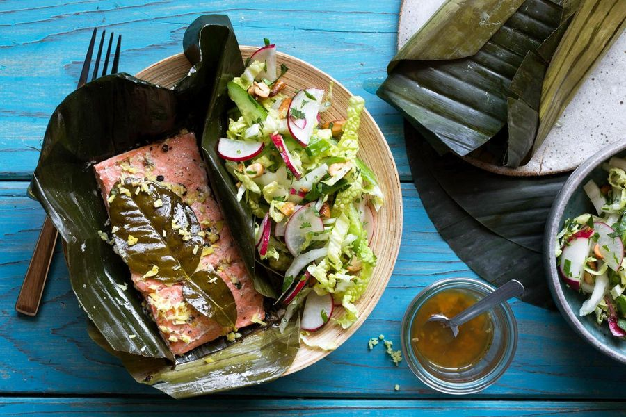 Banana-leaf wrapped salmon with cabbage slaw