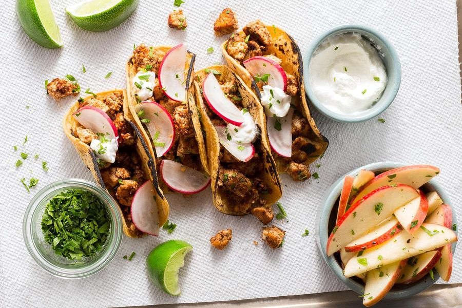 Tofu mole poblano tacos with radishes and apple salad