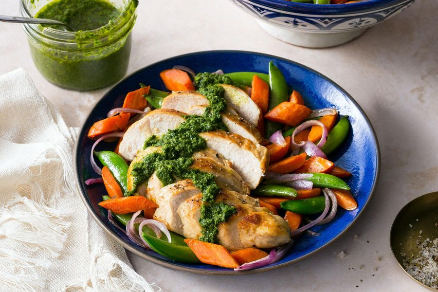Moroccan chicken with carrots, snap peas, and spicy green harissa