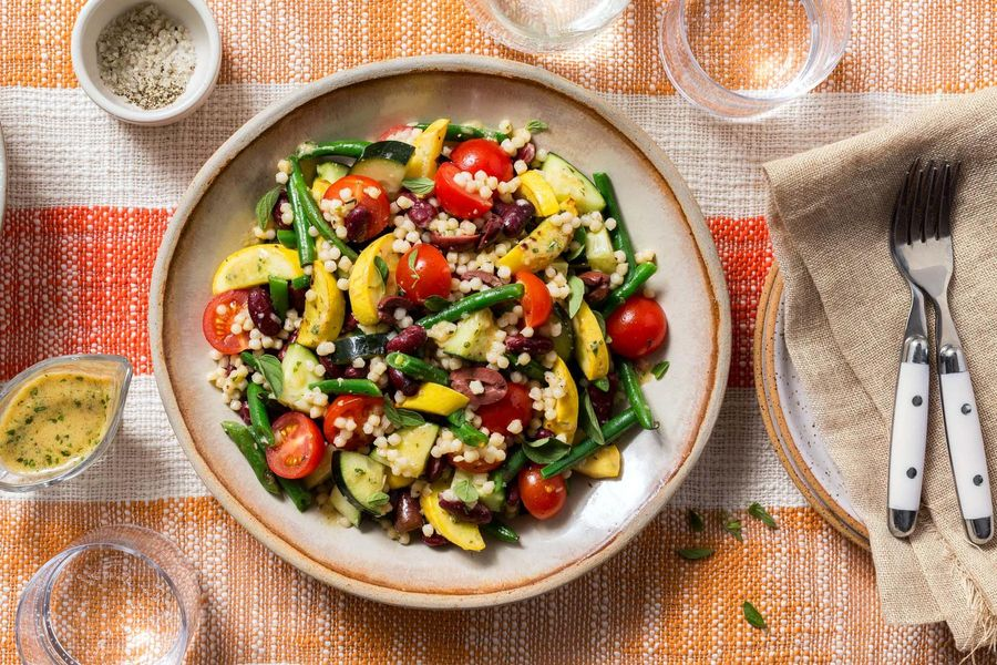 Warm bean and summer squash salad with pearl couscous