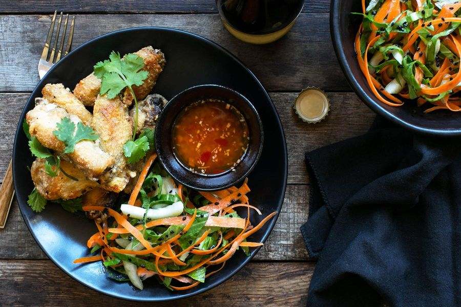 Shanghai chicken wings with ginger-lime dipping sauce