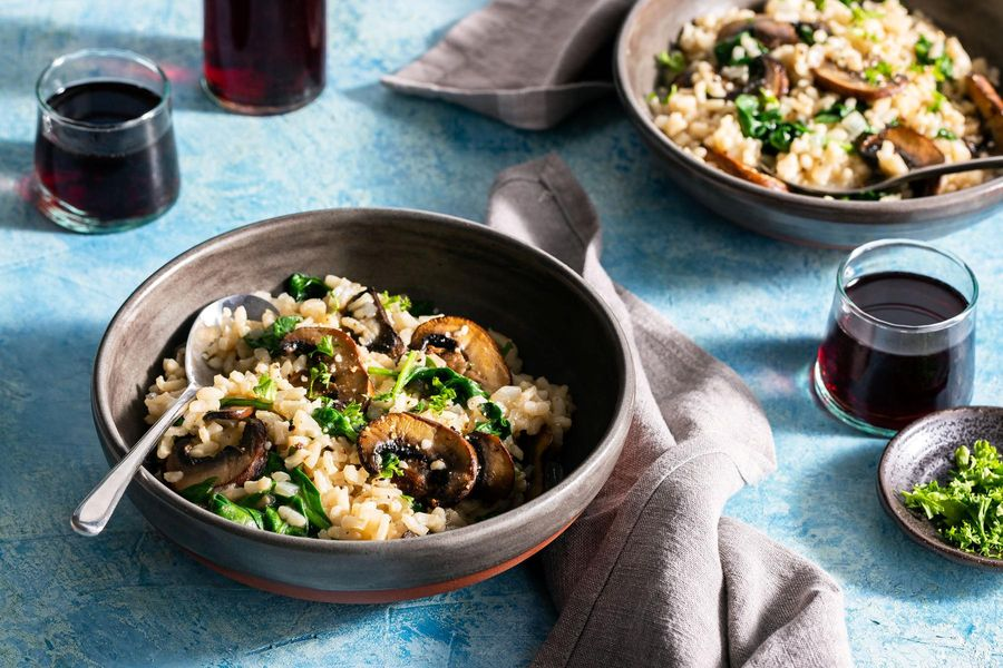 Mushroom risotto with spinach and Parmesan