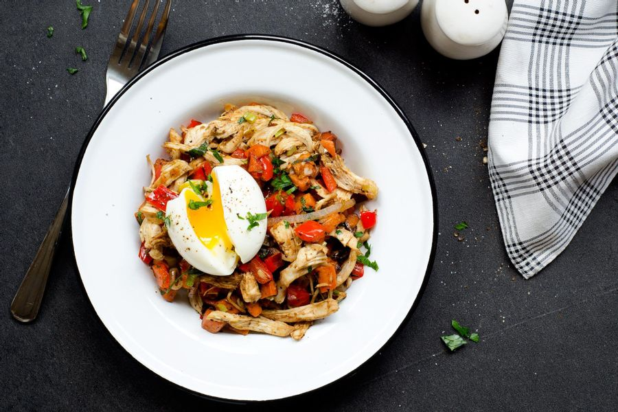 Chicken hash with sweet potatoes and soft-boiled eggs
