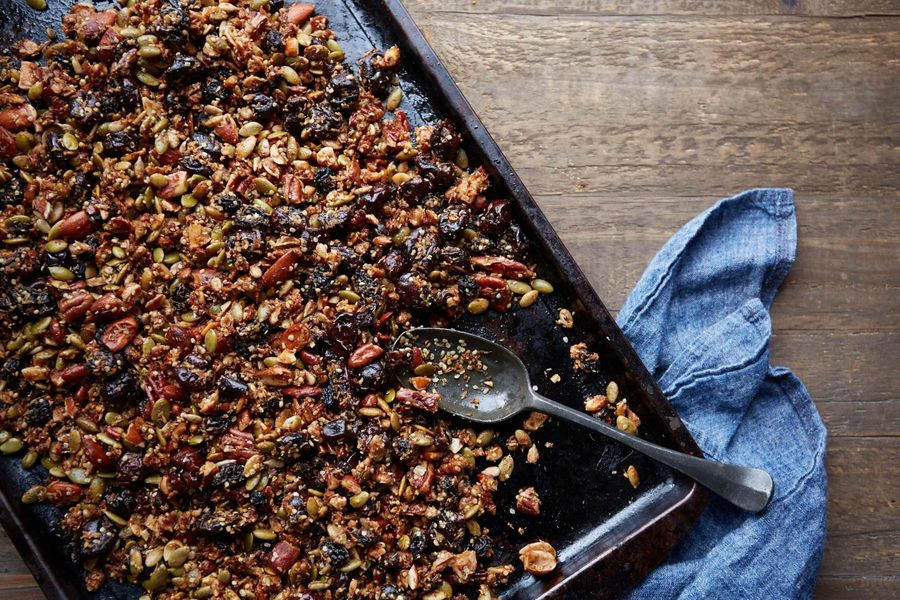 Mixed nut granola with sour cherries and figs