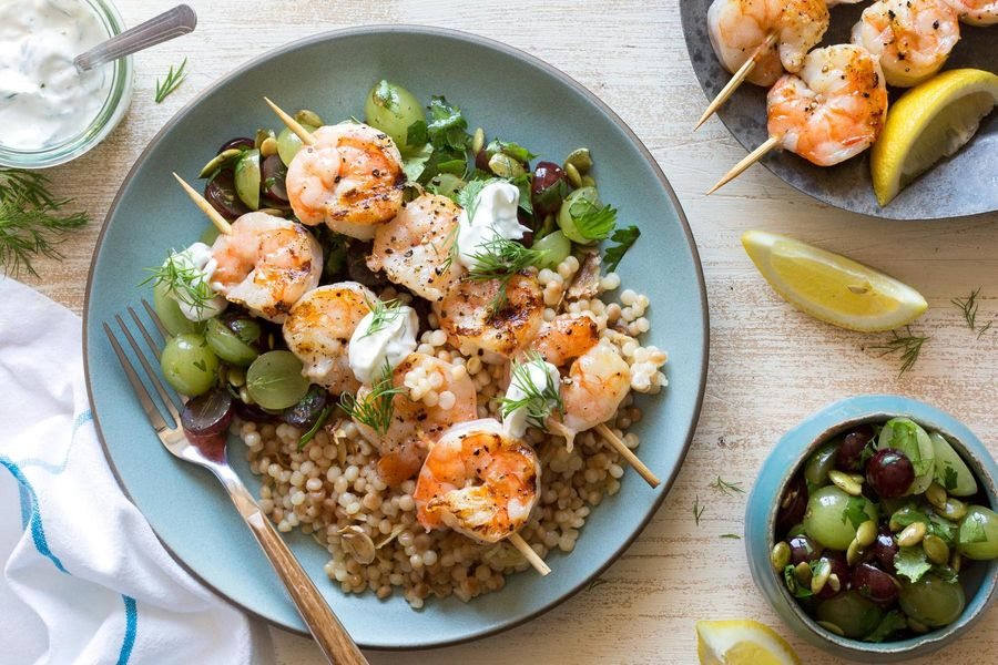 Shrimp with grape salsa and pearl couscous