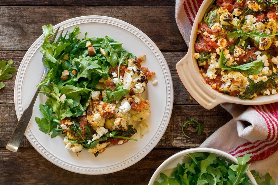Cauliflower and goat cheese gratin with arugula-almond salad