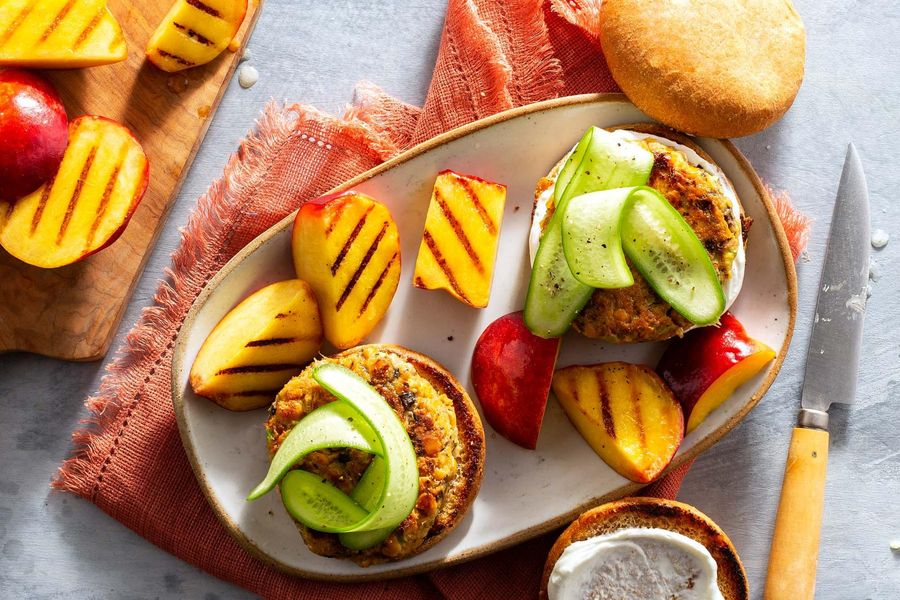 Falafel burgers with honey-lime yogurt, cucumber, and seared nectarines