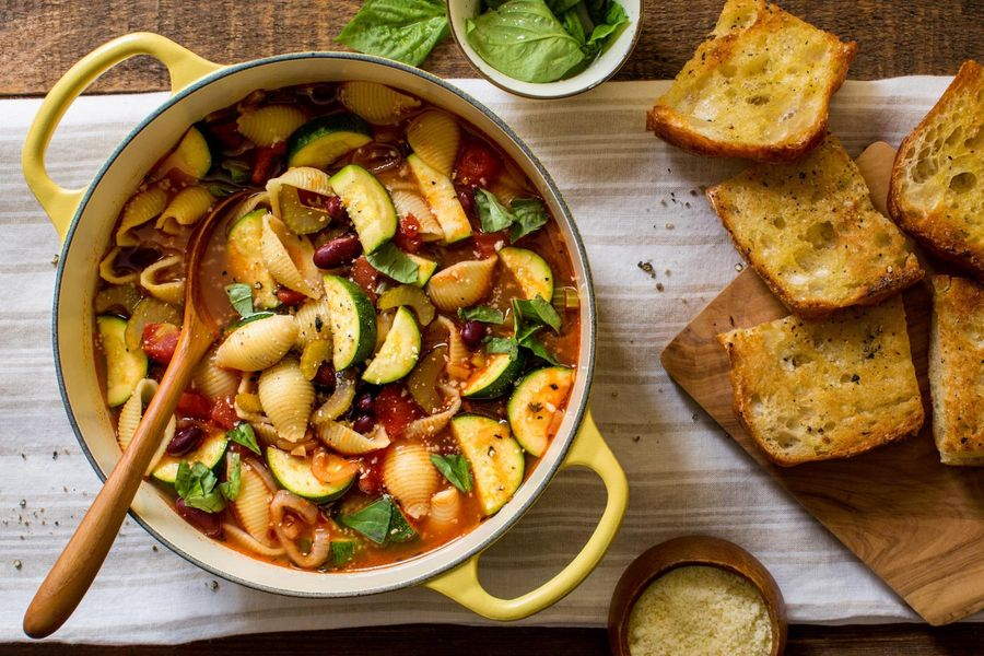 Minestrone with fresh basil and grilled ciabatta