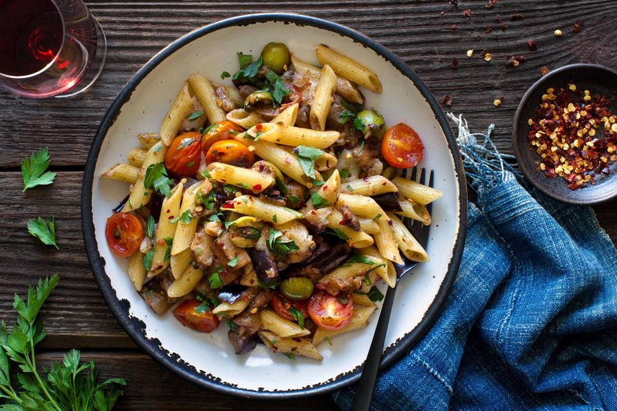Gluten-free penne with caponata and smoked mozzarella