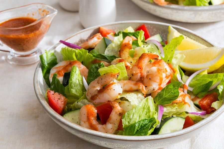 "Easy ""shrimp cocktail"" salad with cucumber, tomato, and basil"