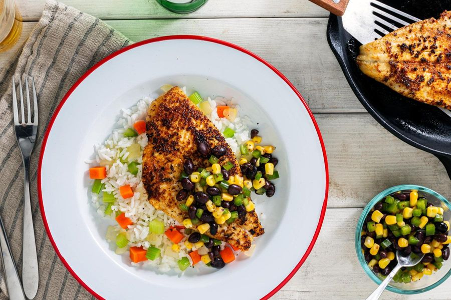Blackened sole with rice and corn–black bean salsa
