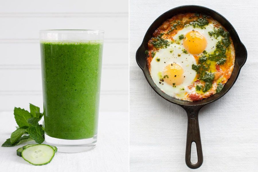 Kale-pineapple smoothies & Mediterranean baked eggs with pistou