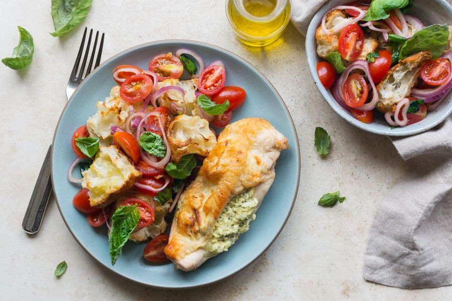 Ricotta-stuffed chicken breasts with tomato panzanella