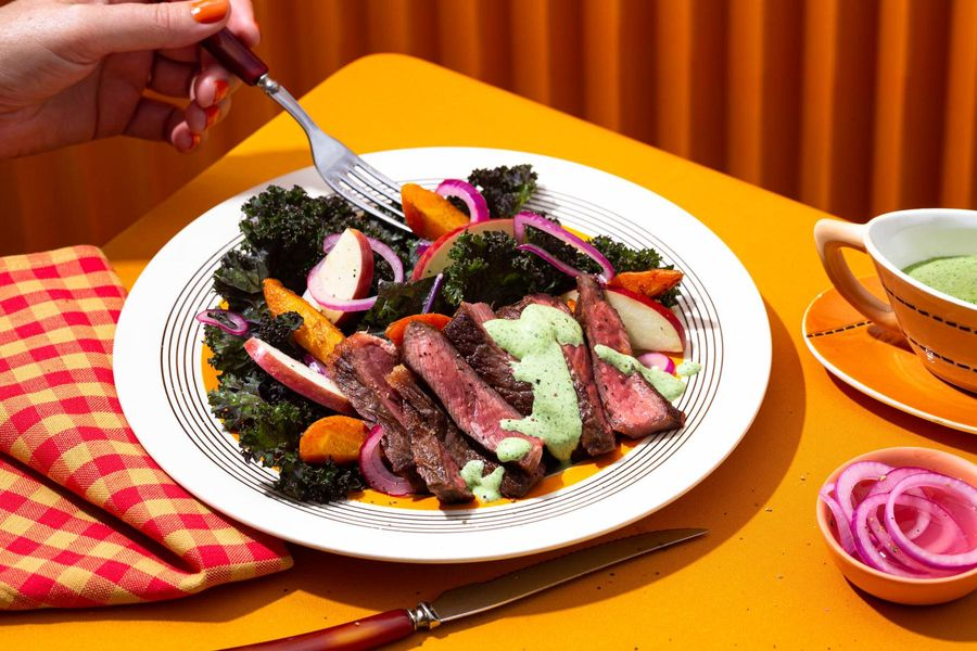 Black Angus rib-eye steak salad with green goddess dressing