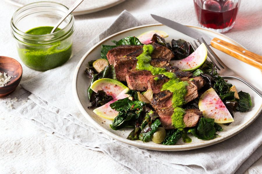Steak with Italian-style greens and salsa verde