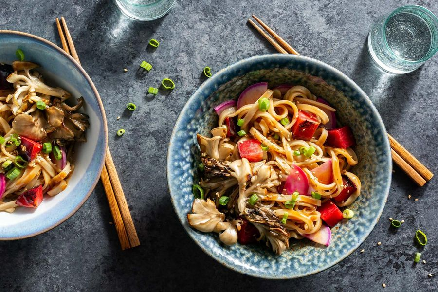 Hoisin-lime noodles with plums, mushrooms, and pickled radish
