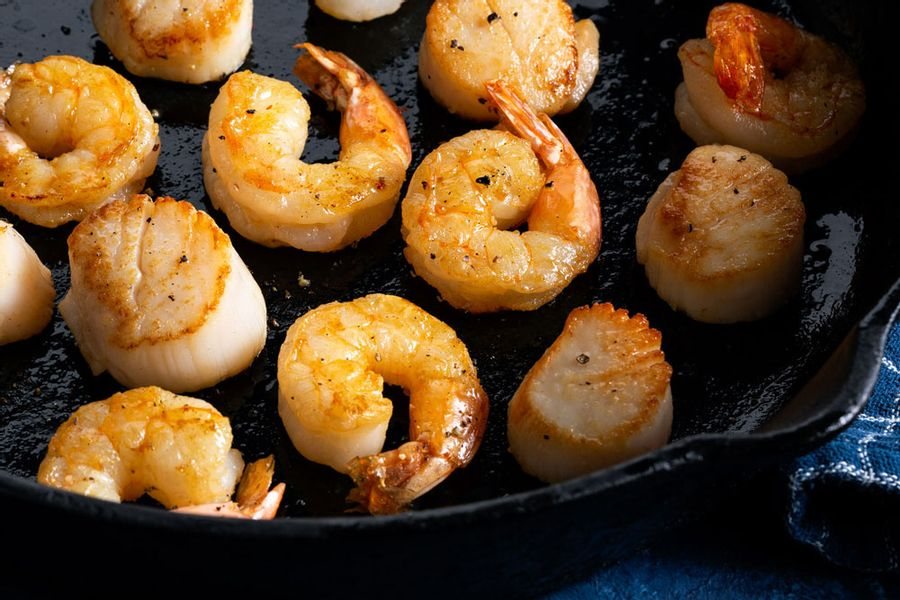 Wild scallop and jumbo shrimp medley