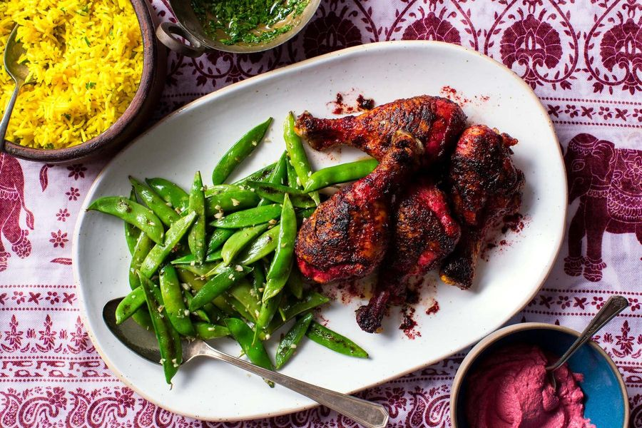 Tandoori chicken with sugar snap peas and turmeric rice