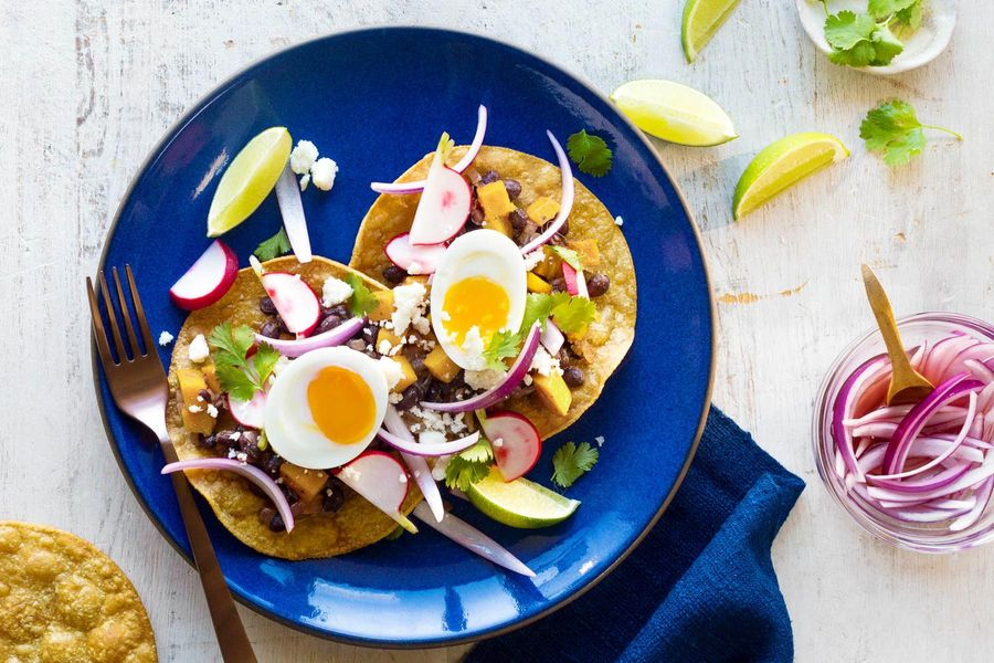 Black bean and summer squash tostadas with soft-cooked eggs