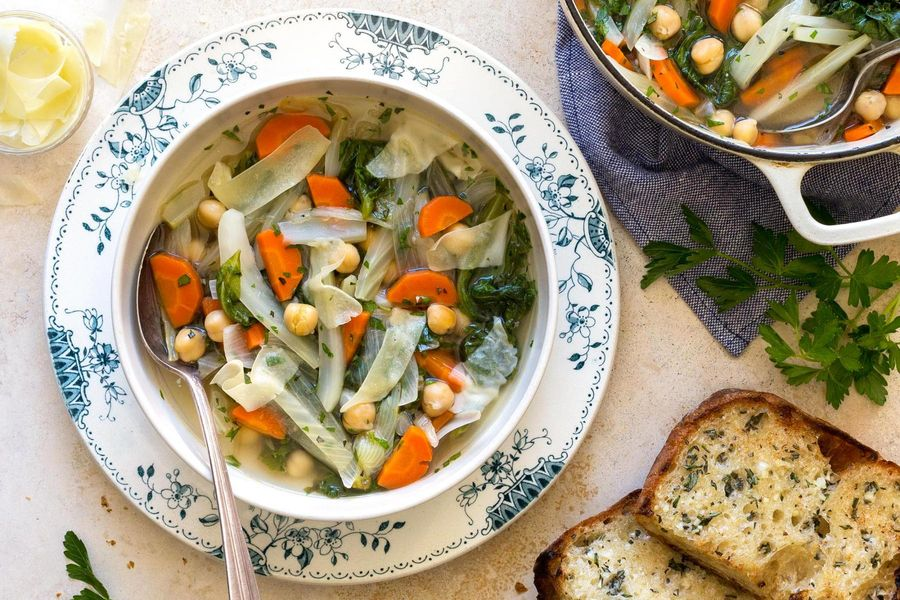 Sicilian chickpea and escarole soup with rosemary-garlic bread