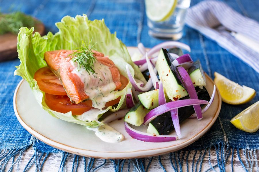 Lettuce-wrapped salmon with lemon-dill mayo