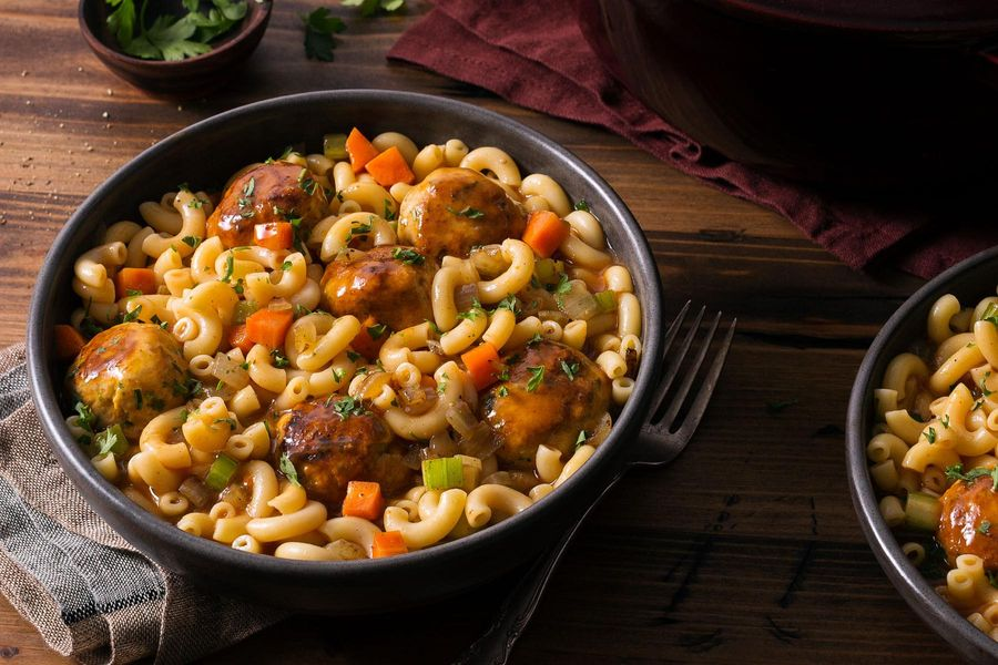 Hungarian chicken-paprika meatballs over quinoa elbow pasta