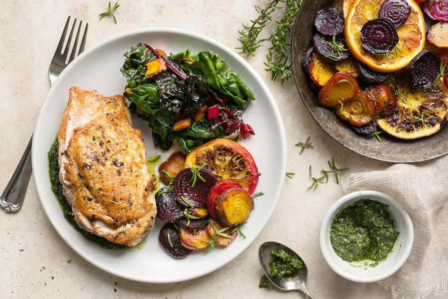 Chicken with rosemary-roasted beets and oranges