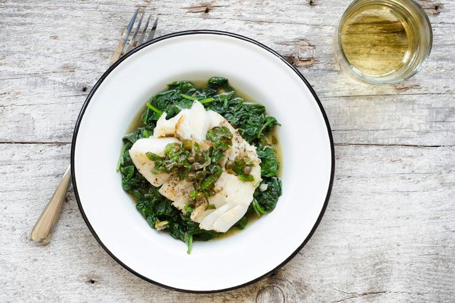 Brown butter fish with basil, capers and spinach