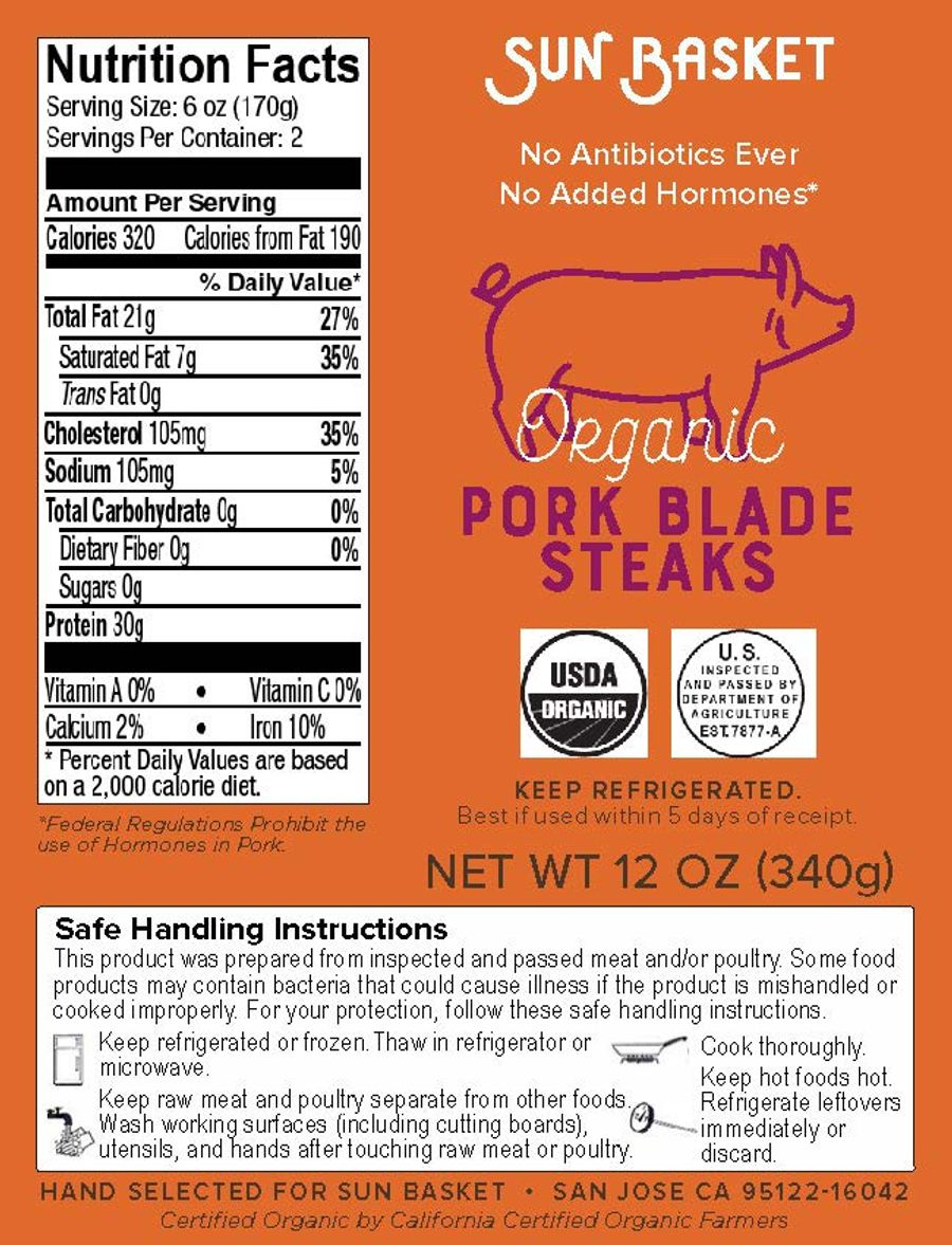 Organic pork blade steaks (2 count) Nutrition