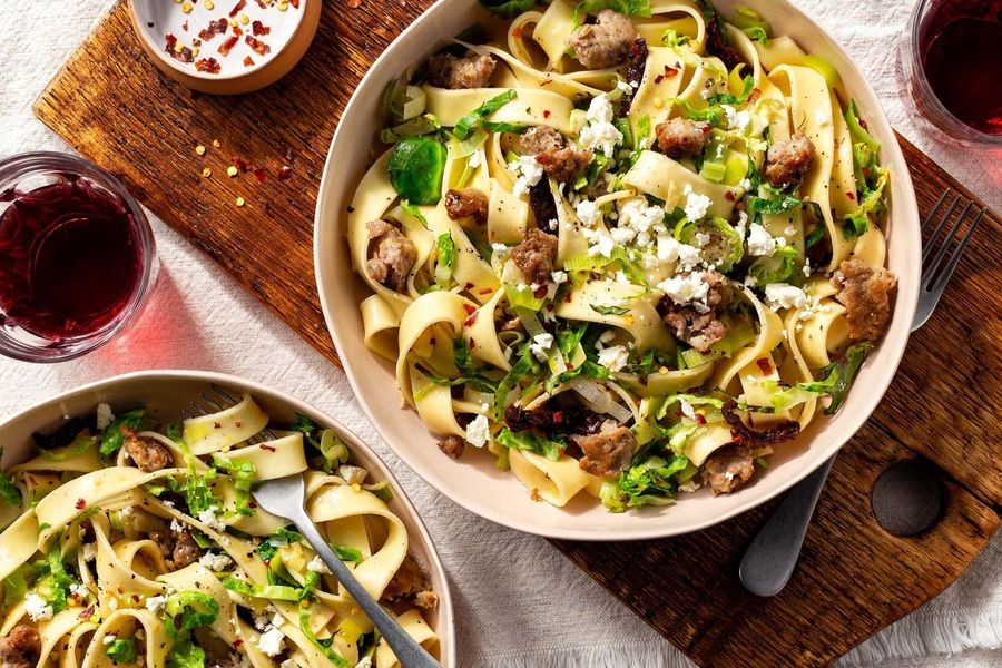 Pappardelle with pork sausage, Brussels sprouts, and feta