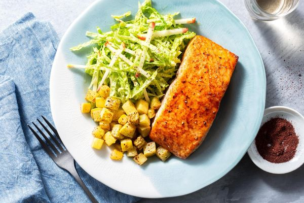 Mediterranean honey-harissa salmon with apple-cabbage slaw